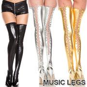 MusicLegs(ミュージックレッグス) ウェットルックレースアップサイハイストッキング/タイツ4888メタリック
