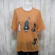追加しました!【夏物新作】ネコ柄プリント 綿混五分袖Tシャツ