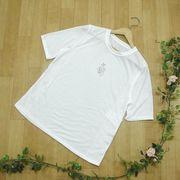 【夏物新作】両サイドレース使い ストーン付き五分袖Tシャツ