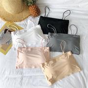 夏 韓国風 女性 短いスタイル セクシー アイスシルク スリング 小 ブラジャー シンプ