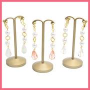 パールと雫型ガラスビーズのイヤリング