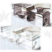 プランツ柄×透明アクリルのモダンな浴用品 『サリナ』