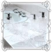 クリア+バラ模様の洗面雑貨 『クリアローズ』 ホワイト色