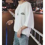 春夏新作メンズTシャツ 半袖トップス ゆったり おしゃれ♪ホワイト/ブルー/ブラック3色