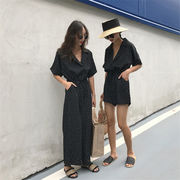 夏 新しいデザイン ファッション アンティーク調 ポルカドット 引きひも ひもあり 襟