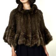 ロシアンセーブル ファージャケット ケープ風 (f-1802) 編み込み レディース 毛皮 和装 パーティボレロ