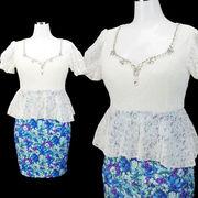 【即納】花柄スカート★ぺプラム型★ミニドレス