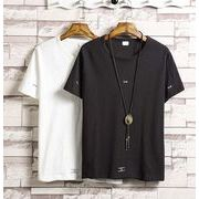 夏秋新作メンズTシャツ トップス 大きいサイズ ゆったり おしゃれ♪ブラック/ホワイト2色
