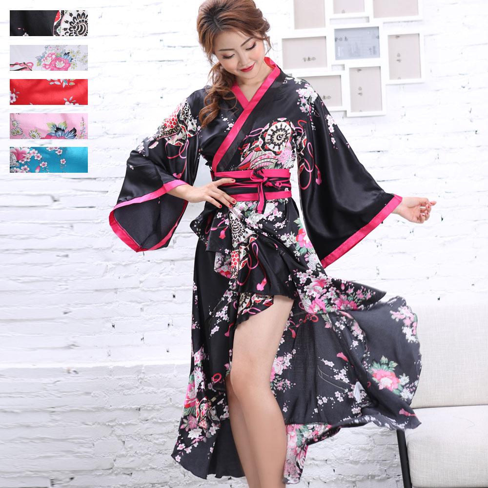 1063サテン和柄フリル花魁着物ロングドレス 和柄 衣装 ダンス よさこい 花魁 コスプレ キャバドレス