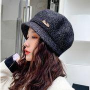 秋冬新作 帽子 フワフワ ニット 金属飾り ファッション キャップ 防寒 気質 あったか