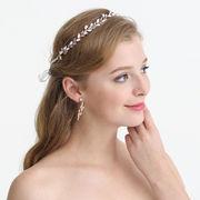 ホワイトダイヤピース入りウェディングヘアー飾り - ヘアバンド ヘアアクセサリー ピン留め   全1色