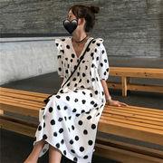 韓国風 スウィート 大 ポルカドット レース 襟 ハイウエスト 着やせ 人形のドレス ル