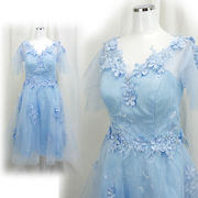 【即納】【ご奉仕品】チュールレースふんわり パール飾り付き お嬢様スタイル ミニドレス