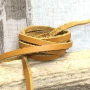 【クラフト 素材】牛革 本革 革紐 こがね色 幅3mm 約厚さ1.2mm 90~100cm