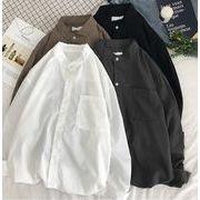 秋冬新作メンズワイシャツ トップス無地 シンプル ゆったり おしゃれ♪全4色