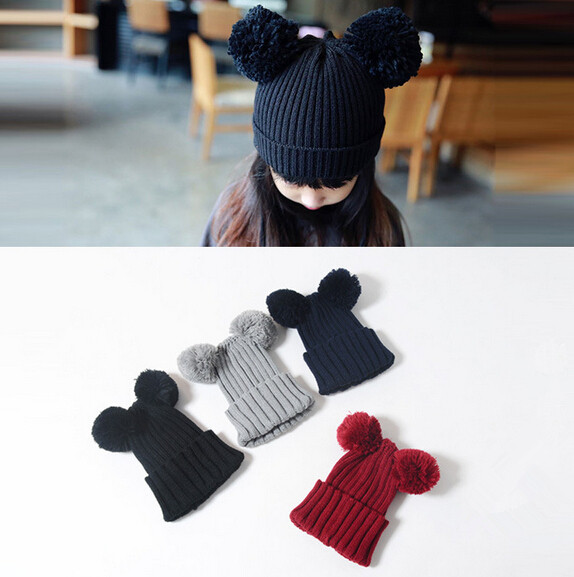 【特価】子供ハット 可愛い帽子 2タイプ ニット帽 韓国風 冬 帽子 耳つき 6色 ボンボン