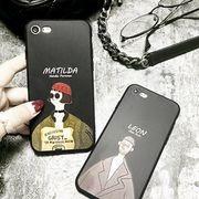 送料無料 ブラック レオン マチルダ TPU イラスト iPhoneケース