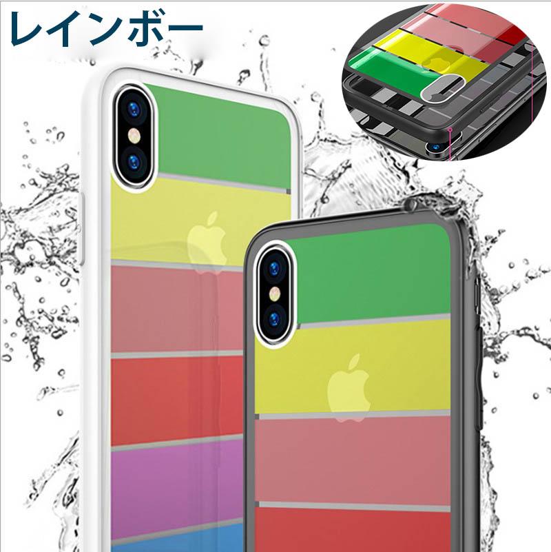 強化ガラス×TPU×PCハイブリッドケース【3点セット販売】iPhoneX 8~6 8~6plusレインボー3色/