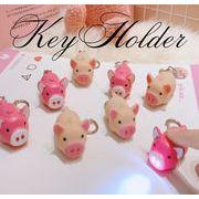 BLHW157933◆5000円以上送料無料◆キーホルダー◆LED光+リアルな鳴き声   可愛い豚ちゃん