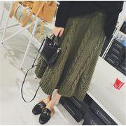 韓国 スタイル ファッション レディース 2018 無地 ハイウエスト ハーフ丈 スカート