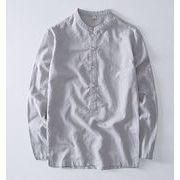 秋冬新作メンズ棉麻トップス ゆったり 大きいサイズ シンプル♪全4色