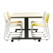 跳ね上げ式会議テーブル(ダークグレー塗装) アイボリー