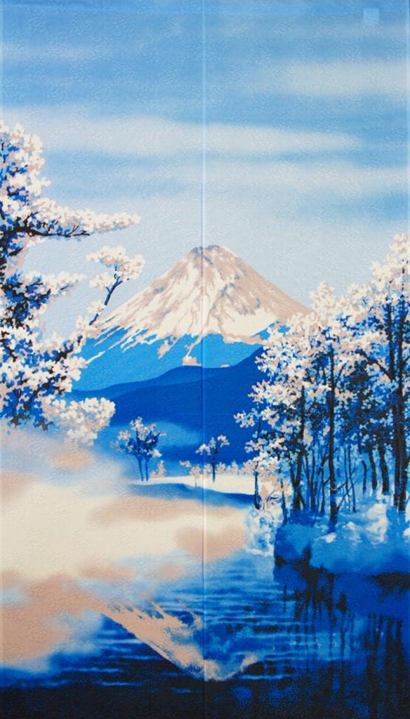 のれん 150cm丈「四季富士冬」【日本製】和風 コスモ 目隠し