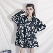 秋冬新商品730024 大きいサイズ 韓国 レディース ファッション ワンピース 花柄 シャツ