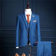 メンズファッション 結婚式 スリーピーススーツ ビジネス 3点セットアップスーツ 通勤 フォーマル