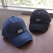▼MAGGIO▼ ヴィンテージ風デニムにワンポイント★ MY刺繍ロゴ入りデニムキャップ(帽子)