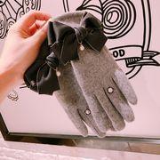 秋冬新品 レディースファッション 手袋 グローブ リボン パール タッチパネル対応 防寒