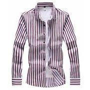 秋冬新作メンズワイシャツ トップスプリント 大きいサイズ♪レッド/ブルー2色