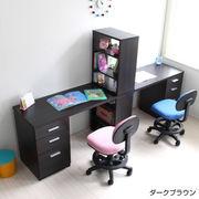 学習机 ツインデスク 書棚付きラック 3段チェスト ブラウン CSD-485-DBR-2SET