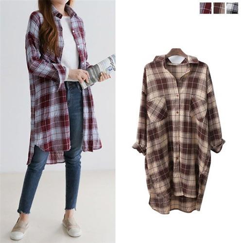 ロングシャツ タータンチェック ネルシャツ スリット 配色 レディース 大きいサイズ 2018