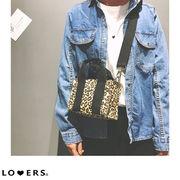 秋新作 ヒョウ柄2wayミニキャンバスバッグ 【即納】バッグ 鞄 2way キャンバス ヒョウ柄 レオパード