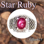 大きいサイズ / 09-31-4  ◆ Silver925 シルバー リング スター ルビー 20号