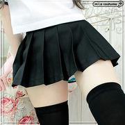 1211F■MB■送料無料■ 超ミニ無地プリーツスカート単品 色:黒 サイズ:M/BIG