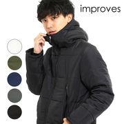 フードジャケット メンズ アウター ボリュームネック 軽量 防寒 黒 白 青 緑 無地 ジャンパー ジャンバー