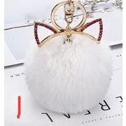 人気新品★バッグ ストラップ★フィッティング★毛玉 8色猫の耳キーホルダー