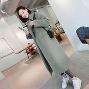 2018秋冬の新しいレディースウールコート 3色 無地 長袖 着痩 カジュアル 韓国スタイル