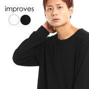 【メール便対応】 カットソー メンズ 長袖Tシャツ ロンT サーマル ロング丈 白 黒 ビッグシルエット