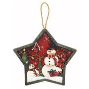 <AMANO>【クリスマス】【木製オブジェ】星型ウォールデコ・スノーマン