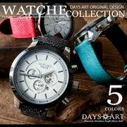 デイズアート DaysArt 腕時計 メンズ クロノグラフ エイ革ベルト バックル留め具 ブレスウォッチ 生活防水