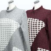 【冬物】レディース シャツ 無地 部分ボア使い 切替 ハイネック Tシャツ