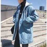秋冬新作メンズデニム裏起毛 トップス防寒 おしゃれ♪ブラック/ブルー2色