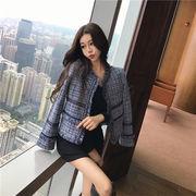 2018年新秋の作 超人気韓国chic/韓国のファッション/タッセル/ツイード/ロングスリーブ