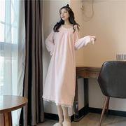 超人気韓国chic/韓国のファッション/フランネル/フェルール/レースナイトドレス/ウサギの耳