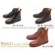S) 【Mooi!】 MF383 本革レザー ウイングチップ レースアップ ブーツ 全3色 レディース