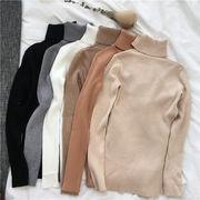2018年新秋の作 超人気  韓国ファッション 秋と冬 無地 ハイネック 長袖 ニット セーター