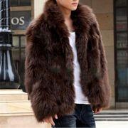 新作 メンズ ファーコート 毛皮コート ファー付き ショットコート 上着 秋冬 防寒 全3色